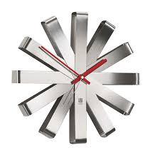 umbra ribbon stainless steel wall clock amazon ca home u0026 kitchen