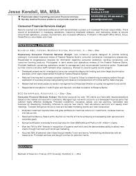 Business Analyst Objective In Resume Sample Business Analyst Resumes Example Consumer Financial