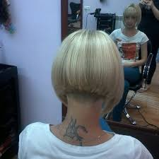 short blonde graduated bob with heavy back blunt fringe and