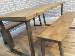 Industrial Table L Hoxton Reclaimed Wood Industrial Dining Table Metal U Frame 220 X