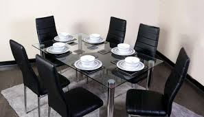 glass square dining table set and 6 black chairs faux leather