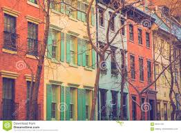 colorful new york city apartment buildings stock photo image