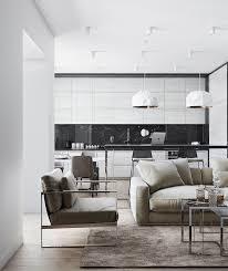 cuisine blanche ouverte sur salon design interieur cuisine blanc et noir credence marbre noir