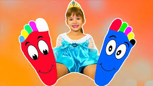 learn colors foot paint with frozen elsa anna finger family song