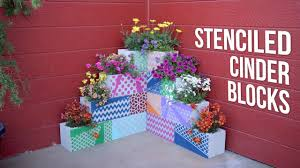 diy stenciled cinder block planters garden answer youtube