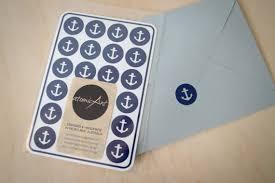 Wedding Invitations Nautical Theme - 24 anchor stickers in sky navy u0026 grey handmade envelope seals
