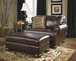 furniture brown leather wingback chair with square storage