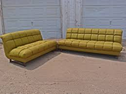 Retro Sectional Sofas Unique Yellow Vinyl Tufted Sectional Sleepers As Decorate In Retro