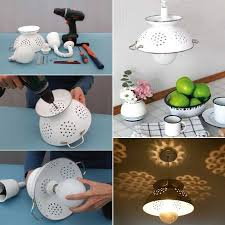 Diy Pendant Light Fixture Diy Pendant Lamp Made From A Colander Home Design Garden