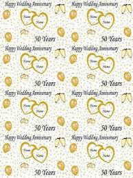 wedding wrapping paper personalised golden 50th wedding anniversary wrapping paper add