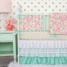 Floral Crib Bedding Sets Mint And Mini Floral Baby Bedding Crib Set In Coral