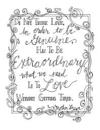 coloring page quotes look to him and be radiant mother teresa quote coloring pages