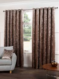 plush crushed velvet lined ready made eyelet ring top plain curtains