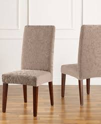Dining Chair Short Slipcovers Sure Fit Stretch Jacquard Damask Short Dining Chair Slipcover
