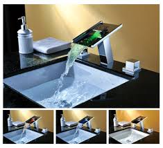 Led Bathroom Faucet Genoa Waterfall Led Bathroom Vessel Sink Faucet