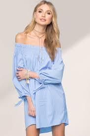 memdalet blue pinstripe off the shoulder mini shift shirt dress