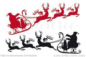 santa sleigh and reindeer santa claus with reindeer sleigh graphics creative market