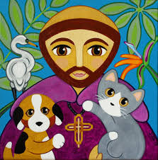 catdog saint francis of assisi with cat dog u0026 bird folk art print