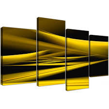 Yellow Black Room Yellow And Black Abstract Canvas Art 130cm X 67cm 4257
