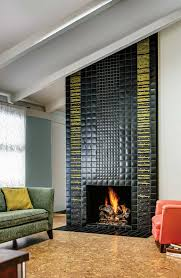 luxury fireplace design with motawi tile plus cozy sofa for living