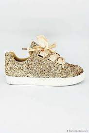 ribbon lace satin ribbon bow lace up glitter sneakers gold