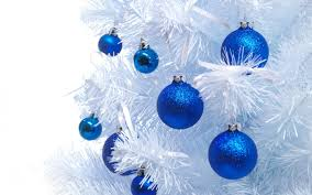blue globes on a white tree walldevil