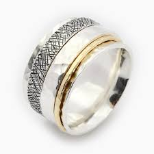 worry ring unisex spinner ring spinner ring silver and gold spinner