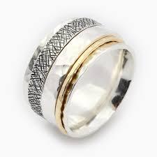 worry ring unisex spinner ring spinner ring silver and gold spinner