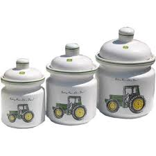 deere kitchen canisters deere 3 pc ceramic canister set kitchen