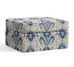 Ikat Storage Ottoman Pearce Storage Ottoman Slipcover Ikat Geo Blue Chairs