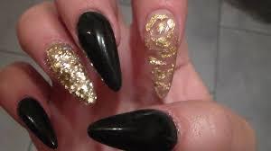 black acrylic nails sculpted stiletto shape youtube