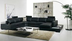 Living Room With Black Furniture by Amazon Com T35 Black Bonded Leather Sectional Sofa With
