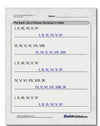 free math worksheets for roman numerals problems with answer key