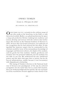 owsei temkin biographical memoirs volume 89 the national