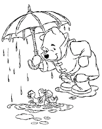 Disney Coloring Pages Winnie The Pooh With Ducklings On A Rainy Rainy Day Coloring Pages