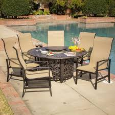 6 Person Patio Dining Set - acadia 7 piece sling patio fire pit dining set by lakeview outdoor