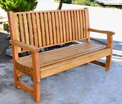 handcrafted wood bench with slats custom redwood seating
