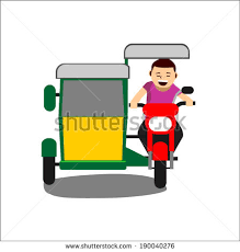 philippine tricycle png illustration cheerful man driving tricycle isolated stock vector