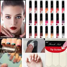buy 18 pack diy stencil french manicure nail art tip guides forms