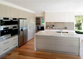 Moben Kitchen Designs by Mid Sized Modern Galley Kitchen Idea In Melbourne With An