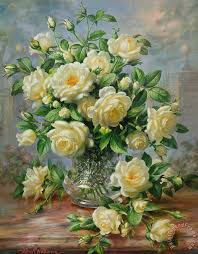 Glass Vase Painting Albert Williams Princess Diana Roses In A Cut Glass Vase Painting