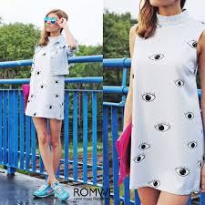 romwe eyes print light blue shift dress the latest street fashion