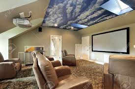 theater in luxury home with ceiling design stock photo picture