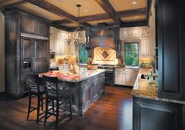shown above mount vernon kitchen dark cabinetry in cherry with espresso stain light cabinetry in maple with creme brule paint