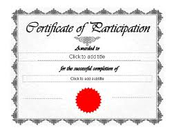 certificate of participation free certificate templates in