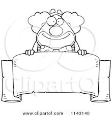 banner coloring pages cartoon clipart of a black and white banner and chubby circus