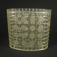 vtg 60s mid century clear lucite starburst small oval trash can