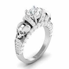 skull engagement rings white diamond skull engagement ring in white 925 sterling