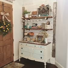entry way shiplap wall repurposed dresser and floating shelves