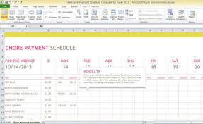 Payment Schedule Excel Template Payment Schedule Template Free Chore Payment Schedule Template